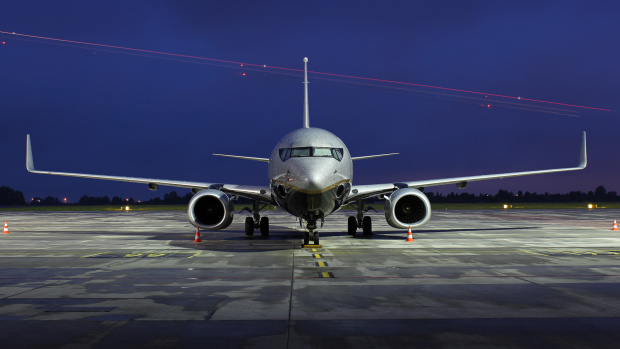 Prywatny Boeing jednego z rosyjskich przedsiębiorców pokazany pół godziny po zachodzie słońca