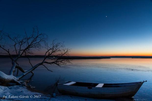 Styczniowy zmierzch w asyście Wenus i Marsa #zmierzch #mars #wenus #jezioro #łódź