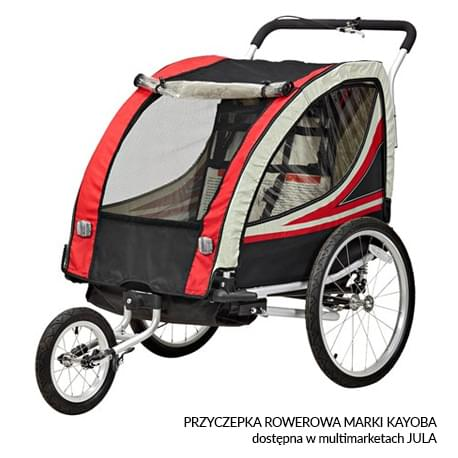 Przyczepka rowerowa marki Kayoba dostępna w multimarketach JULA